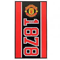 CurePink Osuška Manchester United FC: Established 70 x 140 cm černá bavlna