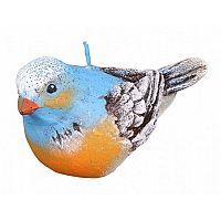 Dekorativní svíčka ptáček, modrá