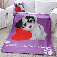 Domarex Deka Puppy Love Dog fialová, 130 x 160 cm