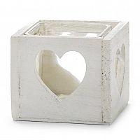 Dřevěný svícen srdce bílá, Dakls