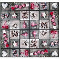 Forbyt Vánoční ubrus Ozdobičky patchwork, 85 x 85 cm