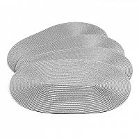 Jahu Prostírání Deco ovál šedá, 30 x 45 cm, sada 4 ks