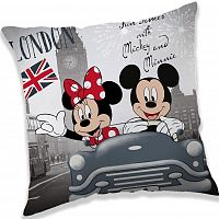 Jerry Fabrics Polštářek Mickey and Minnie London, 40 x 40 cm