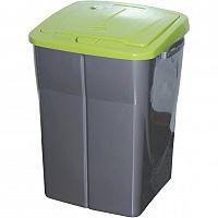 Koš na tříděný odpad zelené víko; 51 x 36 x 36,5 cm; 45 l; plast
