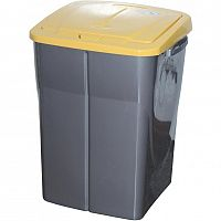 Koš na tříděný odpad žluté víko; 51 x 36 x 36,5 cm; 45 l; plast