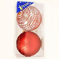 Koule se třpytkami 2 ks, červená, pr. 10 cm, HTH