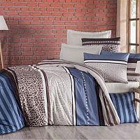 Kvalitex Bavlněné povlečení Delux Stripe modrá, 140 x 220 cm, 70 x 90 cm