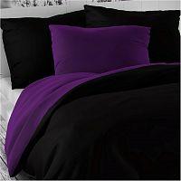 Kvalitex Saténové povlečení Luxury Collection černá / tmavě fialová, 220 x 220 cm, 2 ks 70 x 90 cm