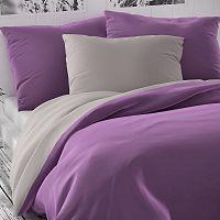 Kvalitex Saténové povlečení Luxury Collection fialová/světle šedá, 220 x 200 cm, 2 ks 70 x 90 cm