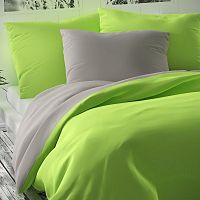 Kvalitex Saténové povlečení Luxury Collection světle zelená/světle šedá, 240 x 220 cm, 2 ks 70 x 90 cm