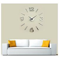 Nástěnné hodiny stříbrná, pr. 60 cm