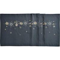 Sander Ubrus Christmas flake antracitová 50 x 140 cm