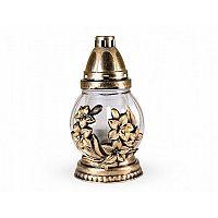 Skleněná lampa s plastickým dekorem Květ, zlatá