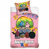 Tip Trade Dětské bavlněné povlečení Angry Birds Karaoke, 140 x 200 cm, 70 x 80 cm