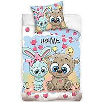 TipTrade Bavlněné povlečení U & Me Cute Friends, 140 x 200 cm, 70 x 80 cm