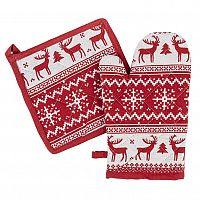 Trade Concept Vánoční sada chňapka a podložka Sob červená