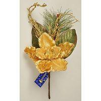 Vánoční větvička Magnólie s korálky zlatá,