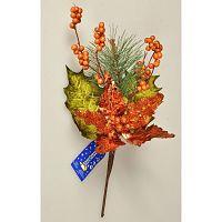 Vánoční větvička Poinsettie s bobulemi měděná,