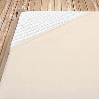 Napínací jersey prostěradlo smetanové 140x200 cm jednolůžko Jersey