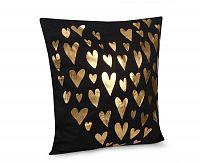 Povlak na polštářek Gold Srdíčka černá 45x45 cm polyester