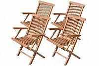 Divero 30736 Sada skládací židle z týkového dřeva - 4 ks