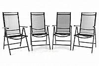 Garthen 40770 Sada čtyř zahradních polohovatelných židlí - černá