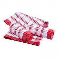Bavlněné kuchyňské utěrky káro červené 3 ks