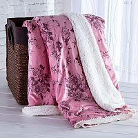 Beránková deka s embosovaným vzorem starorůžová 140 x 200 cm