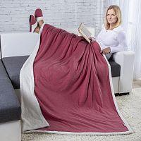 Beránková přikrývka fialová a Domácí textilní pantofle vel. 37-38