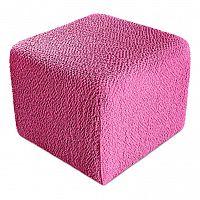 GA.I.CO decoDoma napínací potah bielastický BUKLÉ růžová na taburet 40 x 40 x 40 cm