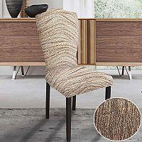 GA.I.CO decoDoma napínací potah bielastický UNIVERSO NOVÉ žíhané hnědé židle s opěradlem 2 ks 45 x 45 x 50 cm