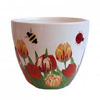 Keramický květináč, vzor tulipány a broučci