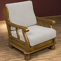 Nueva Textura decoDoma napínací potah na křeslo strečový GLAMOUR smetanové křeslo s dřevěnými rukojeťmi 60 - 80 cm