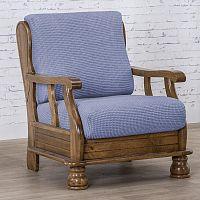 Nueva Textura decoDoma napínací potah na křeslo strečový NIAGARA modrá křeslo s dřevěnými rukojeťmi 50 - 80 cm