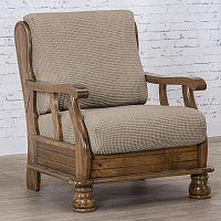 Nueva Textura decoDoma napínací potah na křeslo strečový NIAGARA oříšková křeslo s dřevěnými rukojeťmi 50 - 80 cm