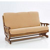 Nueva Textura decoDoma napínací potahy na sedací soupravu multielastický CARLA gold na sedačku - trojkřeslo s dřevěnými rukojeťmi 170 - 200 cm