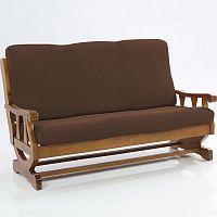 Nueva Textura decoDoma napínací potahy na sedací soupravu multielastický CARLA hnědé na sedačku - trojkřeslo s dřevěnými rukojeťmi 170 - 200 cm