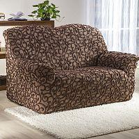 Nueva Textura decoDoma napínací potahy na sedací soupravu strečový 3D DICKSON hnědé na sedačku - dvojkřeslo 140 - 180 cm