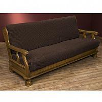 Nueva Textura decoDoma napínací potahy na sedací soupravu strečový GLAMOUR hnědé na sedačku - trojkřeslo s dřevěnými rukojeťmi 170 - 200 cm