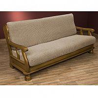 Nueva Textura decoDoma napínací potahy na sedací soupravu strečový GLAMOUR oříškové na sedačku - dvojkřeslo s dřevěnými rukojeťmi 140 - 170 cm