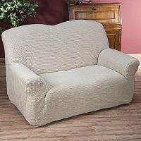 Nueva Textura decoDoma napínací potahy na sedací soupravu strečový GLAMOUR smetanové na sedačku - dvojkřeslo 140 - 180 cm