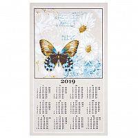 Olzatex Textilní kalendář, utěrka, MUCHA MOTÝL 2019, 40x70cm, bez hůlky