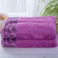 Sada bambusových ručníků s bordurou FUCHSIOVÉ 2 ks Nádherně měkké a savé ve vysoké kvalitě <p style=