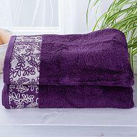 Sada bambusových ručníků s bordurou TMAVĚ FIALOVÉ 2 ks Nádherně měkké a savé ve vysoké kvalitě <p style=