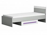 Jednolůžková postel 90 cm Piere P12 Fialová (s roštem)
