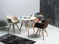 Jídelní stůl Soho 80x80 (bílá + buk) (pro 4 osoby)
