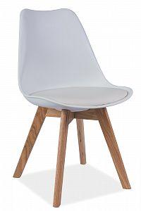Jídelní židle Kris (bílá + dub)