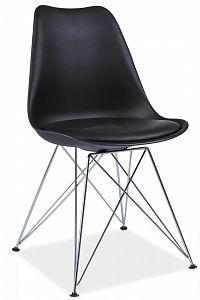 Jídelní židle Tim (černá + chróm)