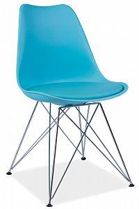 Jídelní židle Tim (modrá + chróm)