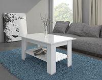 Konferenční stolek Elaiza (bílá + lesk bílý)